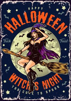 Colorful Halloween vector poster design by DGIM Studio.