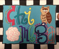 Chi Omega  Decorative Canvas  Sorority by TheCanvasShop94 on Etsy, $25.00