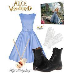 """Tim Burton's """"Alice in Wonderland"""" Inspired Outfit (weiße Handschuhe zu meinem Kleid)"""