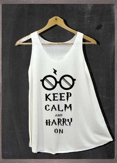 Keep Calm and Harry On Harry Potter Glasses Shirt Tank Top Women Size S and M