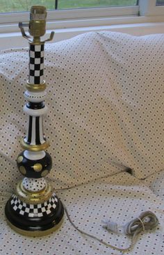upcycled vintage brass table lamp hand painted MacKenzie Childs inspired checks dots by paintallday on Etsy