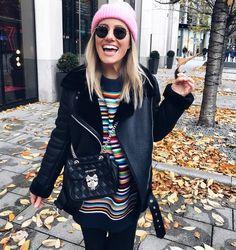 Herbst Outfit mal Bunt gestreift mit Rosa Mütze von Dani_Nanaa ! Happy Face <3  #ootd #fashion #Herbst #style ©https://www.instagram.com/dani_nanaa/