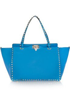 Valentino The Rockstud medium neon leather trapeze bag | NET-A-PORTER