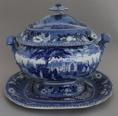 Antique Pottery Pearlware Blue Transfer Henshall British Views Soup Tureen 1825