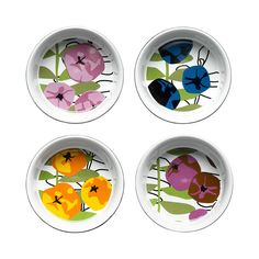 Hot Blossom Oven Dishes - Set of 4