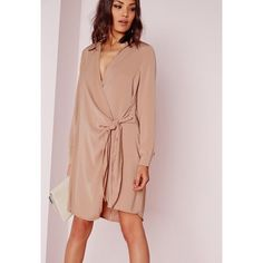Missguided Crepe Wrap Shirt Dress Nude ($17) ❤ liked on Polyvore featuring brown