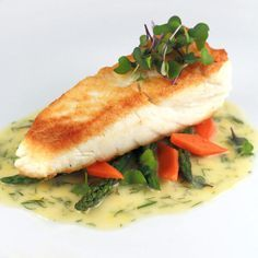 Golden pan seared halibut with a creamy lemon dill sauce. Tender halibut filets are sauteed and served with a luscious French lemon dill beurre blanc sauce. Seafood Dishes, Seafood Recipes, Cooking Recipes, Healthy Recipes, Cooking Tools, Kid Cooking, Skillet Recipes, Cooking Videos, Pan Seared Halibut Recipes
