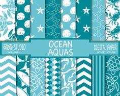 "Beach Digital Paper: ""AQUA OCEAN ANIMALS,"" Turtle, Dolphin, Shark, Starfish, Sand Dollar, Fish, Crab, Patterns, Stripes, Chevron Background  $4.25"