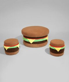 Fun Burger - can we make these? I just think they are cool and would be fun seating. Probably doesn't go with the theme though
