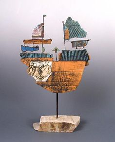 A series of incredible ship scultpures by Christina Weise can be found here http://www.rolandsummer.at/WIESE/kont.htm
