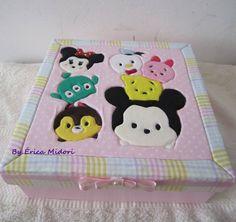 Caixa com patchwork embutido com o tema TSUM TSUM da Disney