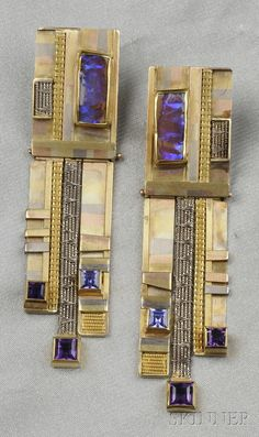 Married Various Color Gold Gem-set Earpendants, Vicki Eisenfeld, c. 1992, in married 14kt, 18kt, and 22kt gold, with elements of woven wire, and set with opal, amethyst, and iolite, lg. 3 1/2 in., incised signature. [Interesting. Either really different or really ugly, I can't decide which]