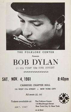 Bob Dylan's first major New York City gig, 1961.