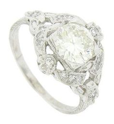 Platinum and 1.2 carat antique engagement ring. Repinned by one of WorthPoint's favorite pinners!