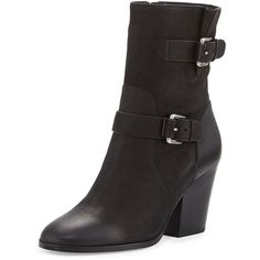 Michael Michael Kors Ashton Mid Leather Bootie (1.330.400 IDR) ❤ liked on Polyvore featuring shoes, boots, ankle booties, black, black block heel booties, black booties, ankle boots, black bootie and black boots