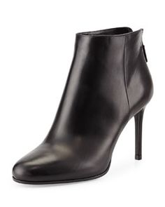 c483da9999a8 S07BQ PRADA Leather Almond-Toe Ankle Boot