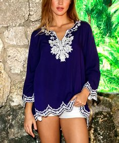 Look what I found on #zulily! Blue Embroidered Scalloped-Hem Notch Neck Tunic #zulilyfinds