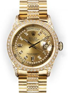 """15,725.00 The """"Super"""" President is the name given to the Men's Rolex Day Date President with both """"Pave"""" Diamond Band and Diamond Lugs in addition to the classic Diamond Dial & Diamond Bezel. New """"Super"""" Presid..."""