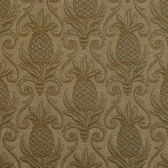 E525 Green, Pineapple Jacquard Woven Upholstery Grade Fabric By The Yard