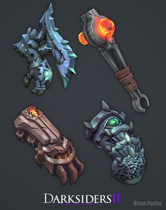 Assets i worked on during my time at Vigil Games for Darksiders II. Concept and final in game textures were completed by other artists while i was there. Armor Concept, Weapon Concept Art, Fantasy Weapons, Fantasy Warrior, Hand Painted Textures, Game Props, Game Concept Art, Game Character Design, Texture Painting