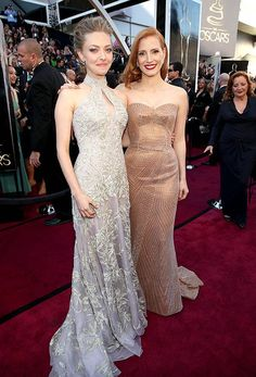absolutely stunning ladies!! Amanda Seyfried & Jessica Chastain Oscars 2013