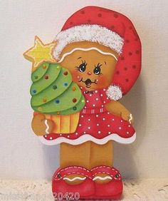HP-Gingerbread-Christmas-tree-cupcake-ginger-SHELF-SITTER-hand-painted-USA