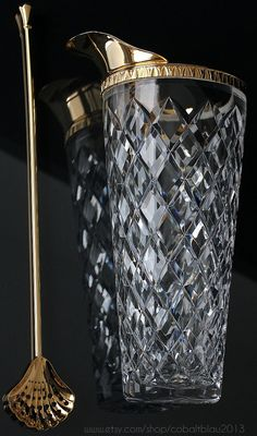 Gold Cocktail Shaker · Martini Pitcher / Vintage Barware Bar Cart Accessories / Bartending Bar Interior Cocktail Bar Interior, Gold Bar Cart, Gin Bar, Bar Cart Decor, Copper Bar, Vases, Bar Accessories, Cocktail Accessories, Bar Tools