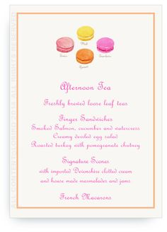menu card perfect for a bridal shower tea luncheon baby shower