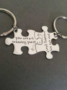 You are my missing piece, couples keychains, puzzle piece keychain set, connected dot heart, couples gift