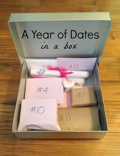 A Year of Dates (in a box). Great anniversary or wedding gift! This link includes all templates and printables.