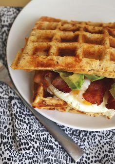 Cheddar Waffle Breakfast Sandwich by abeautifulmess #Breakfast #Sandwich #Cheese #Egg #Bacon
