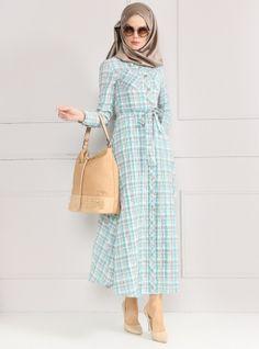 Düğmeli Elbise - Mint Yeşili - Refka