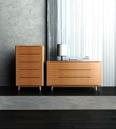 Crafted in 100% solid bamboo, the Currant high chest and double dresser offer hidden soft closing drawer glides. Select from caramelized or black walnut finishes.