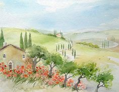 Watercolor Poppies, Watercolor Landscape, Landscape Art, Landscape Paintings, Watercolor Paintings, Watercolours, Painting Templates, Nature Journal, Scenery