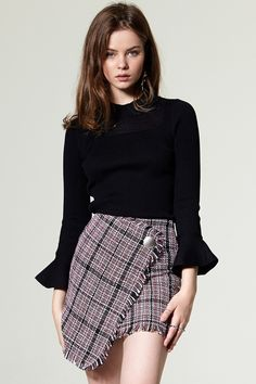 Denim Shorts#denim dress#Slit Skirt#Shauna Tweed Skirt Discover the latest fashion trends online at storets.com