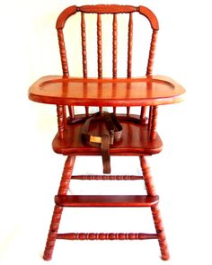 Vtg Jenny Lind Med Cherry Wood Baby Highchair High Chair Sears