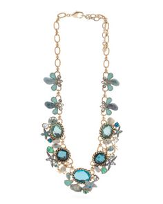 Pacific+Opal+Crystal+Sealife+Necklace+In+Antique+Gold+Tone