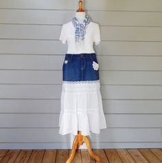 Denim and White Cotton Long Skirt Size 12 Old Navy by FairfaxDavis