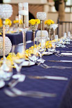bling wedding decor - royal blue with yellow wedding flowers Lake Las Vegas Destination Wedding