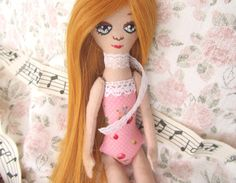 cloth doll golden hair skinny doll pink dress hand by GabYhandmade