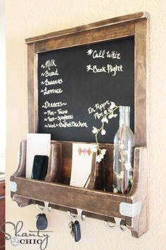 DIY Chalkboard Message Center ... Maybe whiteboard or magnetic board instead of chalkboard?