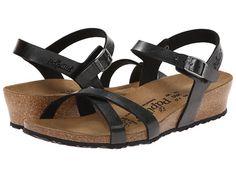 Women s Papillio By Birkenstock Alyssa Graceful Licorice Black Birko-Flor Comfy Shoes, Comfortable Shoes, Black Leather Sandals, Black Shoes, Ankle Strap Sandals, Wedge Sandals, Shoes Sandals, Arch Support Shoes, Sensible Shoes
