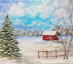 Winter Landscape #acrylicpainting by #angelafineart on #YouTube #beginner Snowy Winter Landscape with Red Barn Acrylic Painting Tutorial for Beginners LIVE Angela Anderson