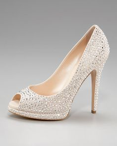Casadei Crystal Covered Peep Toe Pump aminamichele.com amina michele