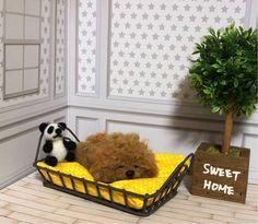 羊毛フェルト 犬 プードル子犬 子犬 トイプードル プードル 寝ているプードル レッド メモリアル 母の日 プレゼント