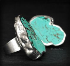 RAW TURQUOISE RING , Fused In Sterling Leaf, Natural Stone Ring, Adjustable Ring, Statement Ring, Cocktail Ring on Etsy, $66.00