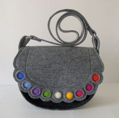 Felt purse, Felt crossbody purse, felt handbag, Colorful lovely handmade fashionable Medium Size Felt Bag with Dots Felt Diy, Felt Crafts, Felt Purse, Felt Bags, Bag Patterns To Sew, Purse Styles, Little Bag, Small Bags, Wool Felt