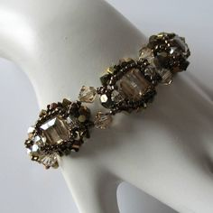 Crystal beaded bracelet, beadweaving, Swarovski crystals, 14k gold filled, beadwork, beaded jewelry, golden shadow