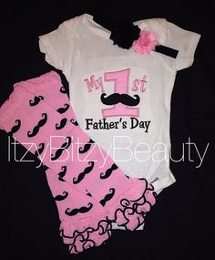 My first Father's Day baby girl mustache by Itzybitzybeauty  !!!! Would be so cute for Thomas' first Father's Day!