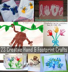 23 creative hand print and foot print craft ideas for kids. These ideas are so ADORABLE! I love the ones for all year, the alphabet animal handprints and the holiday ones too! So cute and fun!